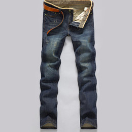Wholesale modern clothing patterns - Wholesale-Men Autumn Winter Jeans Causual Pants Pockets Thick Warm Modern Straight Fell length Clothes Brand Slim Solid Popular Tops hot