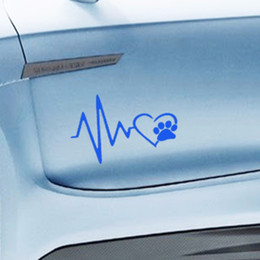 Wholesale Cat Laptop Decal - car styling Heart Beat Paw Dog Cat Pet Lover Animal Art Car Sticker for Truck SUV Bumper Motorcycles Laptop Car Covers Vinyl Decal Jdm