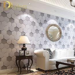 Wholesale Grey Vinyl - Wholesale-High Quality luxury realistic PVC vinyl 3d wallpaper roll grey beige bedside sofa tv background wall wallpaper wallcovering R453