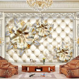 Wholesale Backdrop Lighting For Weddings - photo 3d wallpaper mural decor Photo backdrop light gold soft bag background flowers living room Restaurant painting mural panel
