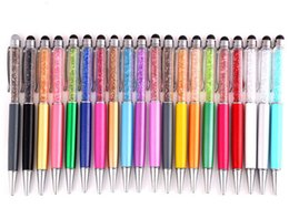 Wholesale Touch Ballpen - Cute Crystal pen Diamond ballpoint pens Stationery ballpen 2 in 1 crystal stylus pen touch pen