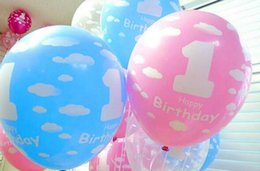 Wholesale Numbers For Children - Hot Festive Balloons for Baby 1st First Birthday Celebration Girl Boy Printed Number 1 Children Birthday Party