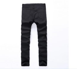 Wholesale Exclusive Jeans - 2018 Exclusive Men Softener Deep Blue Jeans Homme Slim Elastic Factory Jeans Skinny Men Brand Mens Designer Kanye Jeans Pants