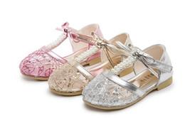 Wholesale Row Leather - Girls shoes sandals kids summer lace Princess double row Pearl bow Sandals 3 colors pair l