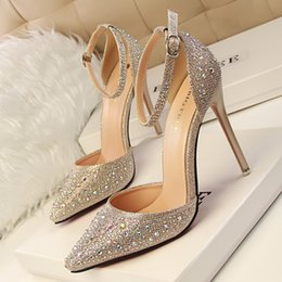 Wholesale Rhinestone Buckle Wedding - 2016 Lady Gorgeous Nightclub Evening Shoes 10.5cm High Heels Rhinestones Ponited Toe Sandals Woman Wedding Bridal Dress Shoes