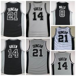 Wholesale Manu Black - Free Shipping 20 Manu Ginobili Basketball Jerseys Men Cheap 21 Tim Duncan Jersey 8 Patty Mills 14 Danny Green All Stitching Black White Gray