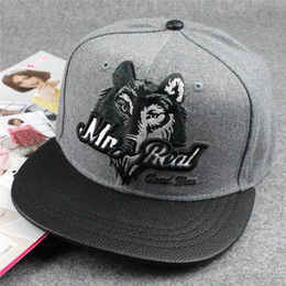 Wool flat bill snapback cap 3D Wolf Head good man Hip Hop Baseball Caps Unisex Wolves Pattern Sport Bone hats da i cappelli di fatture di appartamenti fornitori