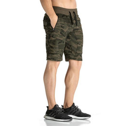 Wholesale Camouflage Casual Pants - New GYM Fashion Camouflage Men's Shorts Casual Summer gymshark Shorts Bodybuilding Short Pants Gasp Big Size 2XL free shipping