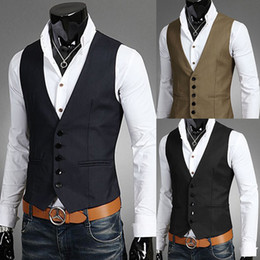 Wholesale Wholesale Men Vests - Wholesale- 2017 Latest Design Brand Men Suit Vest Waistcoat Sleeveless Slim Fit Solid Color Dress Vests For Mens Big Size 5XL Black Blue