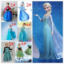 Wholesale Dhl Lantern - Free DHL Frozen dresses Elsa Anna Dresses Kids Summer Gauze Clothing Princess Short Sleeve White Lace Party TuTu dress JC002