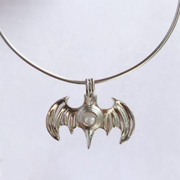 Wholesale Bat Pendants - New Design 18KGP Cool Bat Locket Cages, Pearl Gem Bead Cage Pendant Mountings, DIY Fashion Jewelry Making