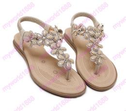 Wholesale T Strap Bohemian Sandals - 2017 New bohemian T strap flower crystal flat heel flip flop women beach sandals plus size 35 to 40 41