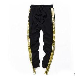 Wholesale Flat Drawstring - High Quality Drawstring OFFWHITE A yellow ribbon Trousers Hiphop Men Boy Streetwear Hip Hop Joggers Off White Pants Skateboard Sweatpants