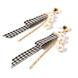 Wholesale Mother Pearl Handmade Jewelry - Handmade Fashion Lace Pearl Stud Earrings For Women Party Accessories Sexy Velvet Ribbon Acrylic Pearl Long Earrings Fashion Jewelry