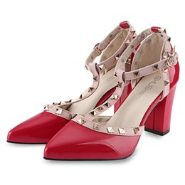 Wholesale Stylish Women Sandals - Stylish Rivet Embellishment Color Block Ladies Thick Heel Sandals Sexy Ladies Zapatos Mujer Sapatos Ladies Woman Elegant Shoes Summer+B