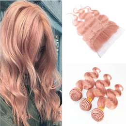 Wholesale Pink Hair Weft - #Rose Gold Body Wave Human Hair With 13*4 Lace Frontal Closure 4Pcs Lot Malaysian Pink Full Lace Frontals With Virgin Hair 3 Bundles