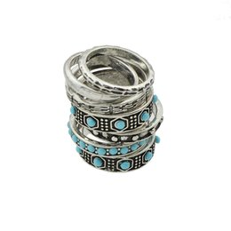 Wholesale Ethnic Silver Rings - 7 pcs set Indian Jewelry Boho Rings Antique Silver Color with Blue Beads Geometric Indian Finger Ethnic Ring For Women