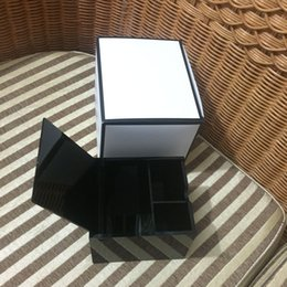 Wholesale Cotton Cosmetics - Luxury C black Acrylic Black storage box with lip cosmetic tips & Make-up cotton Storage Case Desk Sundries Organizer VIP gift With box