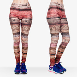 Wholesale Pattern Yoga Pants - Lady Leggings Wood Grain 3D Graphic Print Girl Skinny Stretchy Colorful Pattern Yoga Wear Pants Women Casual Soft Jeggings Trousers (J30545)