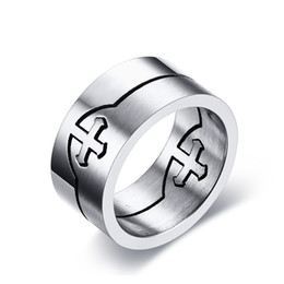 Wholesale Catholic Rings - Wholesale Catholic Titanium Steel Cross Ring Silver Color Can be split Individual Men Cross Rings Wholesale Free Shipping