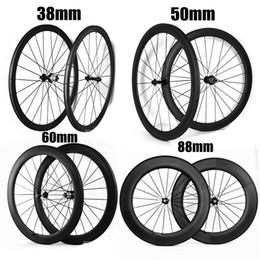 Wholesale Road Bike Wheel Sets - 2017 NEW 700C 38mm 50mm 60mm 88mm Depth 23mm Width Clincher Tubular Carbon Wheels Novatec271 372 Hub Bike Wheelset Carbon Bicycle Wheels