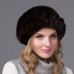 Wholesale-Real mink fur hat with a diamond mink Pi Beilei octagonal cap new  fashion 9d20f0ba24c
