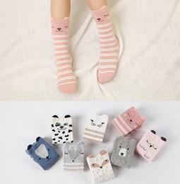 Wholesale Cute Socks Long - Kids socks fashion new children cute Cartoon Animals socks girls stripe cotton long Socks children knee Stockings kids leg A0371