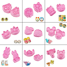 Wholesale Cookie Cutter Set Plastic - 5pcs a set ! Various Plastic Pink Cookie Cake Cutters Mould Molds Cookie Fondant Cake Sugarcraft Chocolate Decorating Plunger Cutter Mold