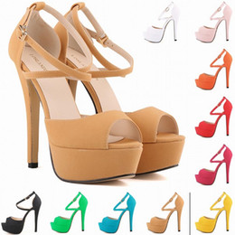 Wholesale Platform Shoes Strappy Heels - Sapato Femin Hot New Open Toe Strappy Platform Faux Suede Thin High Heels Sandals Shoes Sapatos Femininos 14CM US SIZE 4-11 D0101