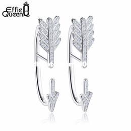 Wholesale Trendy Earrings For Girls - Hot Sale Real 925 Sterling Silver Women Earrings Trendy CZ Crystal Cupid's Arrow Unique Stud Earrings for Girls BE04
