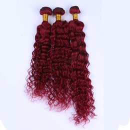 Wholesale Red Brazilian Curly Weave - Grade 8A Brazilian Burgundy Hair Extensions #99J Wine Red 3Bundles Brazilian Deep Wave Burgundy Red Human Hair Weaves Curly Hair Weave