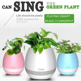 Wholesale Smart Home Audio Wholesale - Creative Music FlowerPot Smart Bluetooth Speaker Touch Piano Music Playing Rechargeable Wireless FlowerPots With Night Light For Office Home