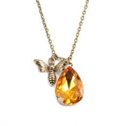 Wholesale Bee Slides - Fashion Animal Bee Topaz Pendant Necklace Yellow Crystal women Necklaces Pure Charm Jewelry For Women OL Best Gift Hot Sale