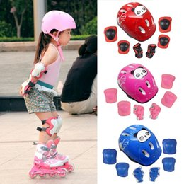 Wholesale Kids Skating Pads - 7 pcs set Skating Protective Gear Sets Elbow pads Bicycle Skateboard Ice Skating Roller Knee Protector For Kids