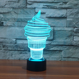 3d Desk Lamp Ice Cream Gift Acrylic Night Light Led Lighting Furniture Decorative Colorful 7 Color Change Household Home Accessories