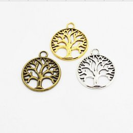 Wholesale Silver Bronze Charms - Metal Tree Of Life Charms Vintage Silver Gold Bronze new diy accessories suppliers for jewelry 24*20mm