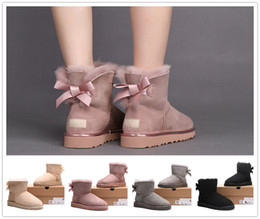 Wholesale Satin Beige Heels - 2017 High Quality Classic WGG new round head boots winter high helper warm boots waterproof each woman's choice size 35-40 Free delivery