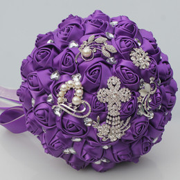 Wholesale Purple Quinceanera Decorations - Purple Satin Wedding Flowers Decorations Crystal Pearls Bridal Bouquets Sweet 15 Quinceanera Bouquets Artificial Wedding Bouquet W235-B