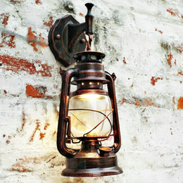 Wholesale Led Bar Glasses - Antique Copper Vintage Lantern Lamp Retro Wall Lamp Kerosene Lamps For Bar Coffee Shop Corridor Home Portable Lamps Outdoor LED Wall Light