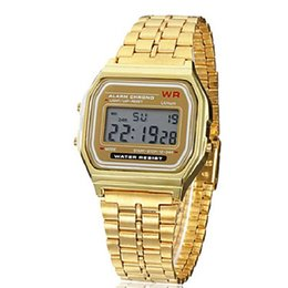 Wholesale Watch Digital Sport Square - Men's Watch Dress Watch Multi-Function Square Digital LCD Dial Alloy Band