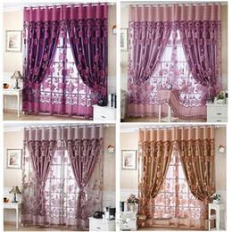 Wholesale Window Drape Style - Wholesale Simple modern European-style high-end sheer floral voile tulle rod pocket curtain fine window curtain drape valance