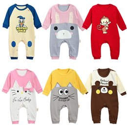 Wholesale Baby Boy Size 12 Months - Baili Baby Rompers Infant long sleeves Romper Onesies cotton knit Animal Babies clothes boy girl 3-12 month Full Size 3 PCS one hand