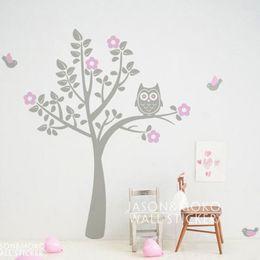 Wholesale Owl Stickers For Nursery - tickers fairy Owl Birds Flowers Wall Sticker Tree Decal Mural Wallpaper Children Kids Baby Room Nursery Bedroom 180x180cm Christmas Home ...