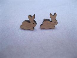 Wholesale Earring Posts Wholesale - wholesale Hot SALE Bunny studs good Post Earrings beech wood Rabbit cut