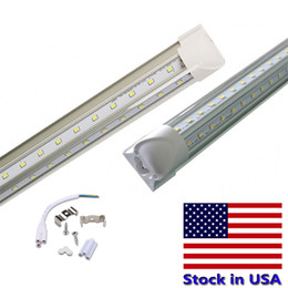 Wholesale Usa Doors - LED Tube T8 4 ft 5ft 6ft 8ft V Shape Integrated Tube Double Row Brightness Fluorescent Light Cool Door Lights Stock In USA