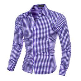 Wholesale Men Dress Shirts Purple Xxl - 5Colors Classic Plaid Man Shirts Long Sleeve Turn-down Leisure Dress Shirts Men Clothing Spring Fall Tops Business Shirt M-XXL Hot Selling