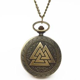Wholesale men s steampunk - New 1PC Scandinavian Odin 's Symbol of Norse Viking Quartz Pocket Watch Chain Pendant Necklace Men Women Steampunk Jewelry Gift