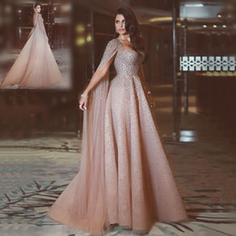 Wholesale Shirt Sequins - Said Mhamad Evening Dresses 2017 Champagne Beaded Sequins A-Line Custom Made Prom Dresses Back Zipper Sweep Train Formal Party Gowns