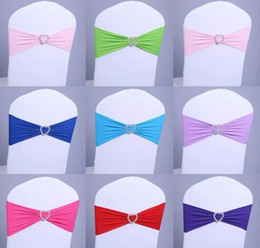 Wholesale Cheap Chair Sash Buckles - 20pcs Free Shipping Spandex Lycra Chair Sashes 14 Colors Elastic Chair Bands With Buckle for Wedding Home Banquet Cheap Wholesale 15*275cm