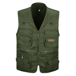 Wholesale Brown Gilet - Wholesale- Spring and autumn male vest casual multi-pocket quinquagenarian 100% cotton mesh vest waistcoat Outerwear gilet workwear